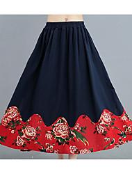 preiswerte -Damen Schaukel Röcke - Blumen, Gefaltet Hohe Taillenlinie