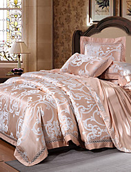 cheap -Duvet Cover Sets Luxury 4 Piece Silk/Cotton Blend Jacquard Silk/Cotton Blend 1pc Duvet Cover 2pcs Shams 1pc Flat Sheet