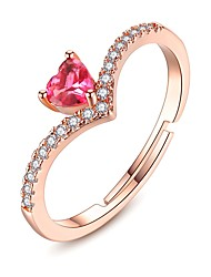 cheap -Women's Cubic Zirconia Gemstone Heart Cuff Ring - Classic / Fashion Pink Ring For Gift / Date