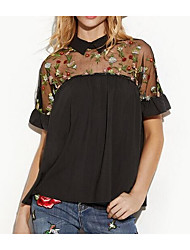 cheap -Women's Holiday Cute Active Blouse Mesh Embroidered Patchwork Shirt Collar