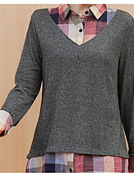 cheap -Women's Long Sleeve Cotton Cardigan - Solid Colored Shirt Collar / Spring