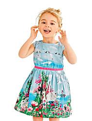 abordables -Robe Fille de Sortie Ecole Fleur Jacquard Coton Acrylique Polyester Printemps Eté Sans Manches simple Mignon Bleu