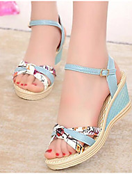 cheap -Women's Shoes PU Spring Summer Comfort Sandals Wedge Heel for Casual White Pink Light Blue
