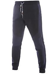 abordables -pantalons de chinos inélastique normale de mi-taille des hommes, ressort simple de polyester de bloc de couleur