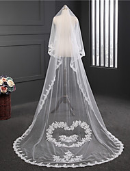 cheap -One-tier Round Lace Wedding Veil Chapel Veils 53 Embroidery Tulle