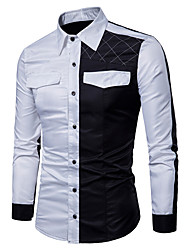 cheap -Men's Chinoiserie Cotton Shirt - Solid Colored Black & White