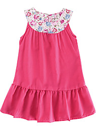 cheap -Girl's Daily Solid Dress, Cotton Linen Bamboo Fiber Acrylic Spring Sleeveless Simple Vintage Fuchsia