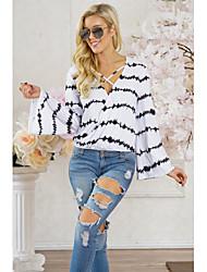cheap -Women's Beach Cute Loose T-shirt - Striped V Neck