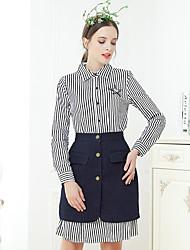 levne -Dámské Vintage Košile - Plisé, Proužky Košilový límec Sukně