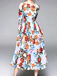Dame Afslappet Skede Kjole - Blomstret, Trykt mønster Midi