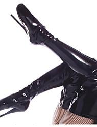 Недорогие -Жен. Обувь Полиуретан Осень Зима Модная обувь Ботинки На шпильке Круглый носок Сапоги выше колена для Для вечеринки / ужина Черный