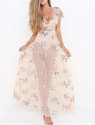 cheap -Women's Boho Loose Dress - Floral, Sequins High Waist Maxi V Neck