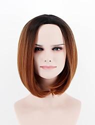 abordables -Pelucas sintéticas Recto Pelo sintético Entradas Naturales Marrón Peluca Mujer Corta Sin Tapa