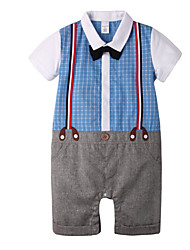 cheap -Baby Unisex Daily Holiday Plaid One-Pieces, Cotton Spring Summer Simple Active Short Sleeve Light Blue