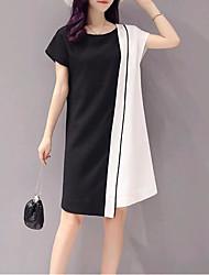 Недорогие -Жен. Прямое Платье - Контрастных цветов, Классический