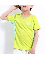 preiswerte -Jungen Alltag Sport Solide Druck T-Shirt, Polyester Frühling Sommer Kurzarm Aktiv Grau Gelb Hellgrün Fuchsia Leicht Blau