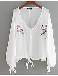 voordelige -Dames Standaard Print Overhemd Bloemen