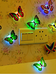 cheap -10pcs Butterfly LED Night Light Color-changing Button Battery Powered Decoration Color-Changing