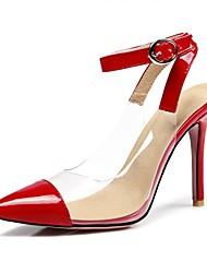 baratos -Mulheres Sapatos Gliter Primavera Verão Inovador Saltos Salto Agulha Dedo Apontado Presilha para Casamento Festas & Noite Preto Vermelho