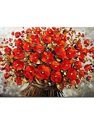 cheap -STYLEDECOR Modern Hand Painted Abstract Red Flowers Oil Painting on Canvas for Living Room Bedroom