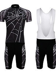 cheap -WEST BIKING® Men's Short Sleeves Cycling Jersey with Bib Shorts - Black Bike Padded Shorts / Chamois Bib Tights Jersey Clothing Suits, 3D