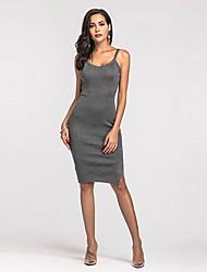 preiswerte -Damen Retro Hülle Kleid Solide Midi