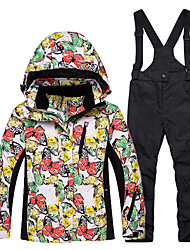 cheap -Ski Jacket with Pants Warm, Waterproof, Windproof Ski / Snowboard Cotton, Eco-friendly Polyester Snow Bib Pants / Winter Jacket Ski Wear