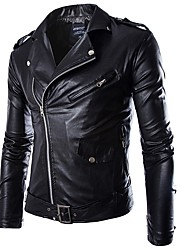 cheap -Men's Casual Punk & Gothic Plus Size Leather Jacket-Solid Colored