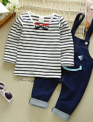 cheap -Boys' Party Daily Going out Solid Striped Print Clothing Set, Cotton Spring Fall Long Sleeves Vintage Blushing Pink Navy Blue