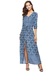 abordables -Femme Grandes Tailles Vacances Bohème Tunique Robe Géométrique Col en V Maxi Bleu