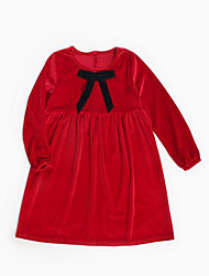 cheap -Kids Girls' Vintage Solid Colored Lace Long Sleeve Dress / Cotton