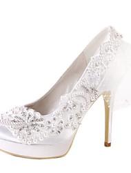 cheap -Women's Shoes Silk Spring / Summer Basic Pump Wedding Shoes Stiletto Heel Closed Toe Rhinestone / Stitching Lace White
