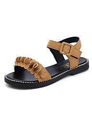 preiswerte -Damen Schuhe Kaschmir Sommer Sandalen Walking Blockabsatz Runde Zehe Kombination für Schwarz / Gelb / Armeegrün