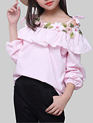cheap -Girls' Daily Floral Blouse, Rayon Spring Fall Long Sleeves Casual White Blushing Pink