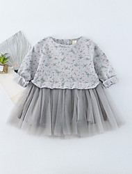 cheap -Baby Girl's Daily Print Dress, Cotton Spring Summer Cute Long Sleeves Blue Blushing Pink Gray