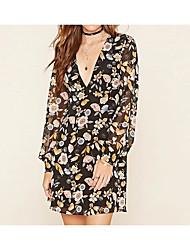 cheap -Women's Basic Chiffon Dress - Floral High Waist V Neck