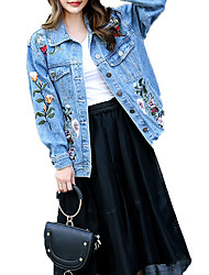 Mulheres Jaqueta jeans Casual - Sólido Oversized