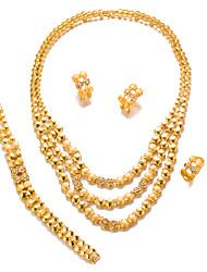 preiswerte -Damen Strass vergoldet Schmuck-Set 1 Halskette / 1 Armreif / 1 Ring - Erklärung / Modisch Kreisform Gold Schmuckset Für Hochzeit / Party