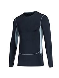 abordables -Homme Couche de Base Des sports Hauts / Top - Manches Longues Exercice & Fitness Respirabilité Elastique Bleu, Rouge / Blanc, Gris