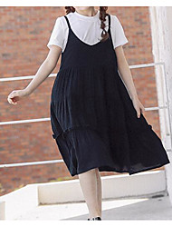 cheap -Girl's Daily Holiday Solid Dress, Cotton Spring Summer Short Sleeves Cute Casual White