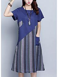 povoljno -Žene Kinezerije Širok kroj Haljina - Vezanje straga, Color block Do koljena