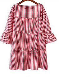 cheap -Women's Loose Dress - Color Block, Layered Pleated