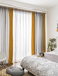 cheap -Curtains Drapes Living Room Solid Colored Geometric Linen&Cotton Blend Printed