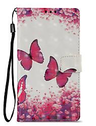 abordables -Coque Pour Sony Xperia L2 Xperia XZ2 Porte Carte Portefeuille Avec Support Clapet Motif Coque Intégrale Papillon Dur faux cuir pour