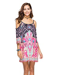cheap -Women's Beach Casual Basic Boho Loose Loose Dress - Floral, Backless Strap Off Shoulder