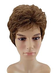 economico -Parrucche sintetiche Riccio Taglio scalato Capelli sintetici Attaccatura dei capelli naturale Marrone Parrucca Per uomo Corto Senza tappo
