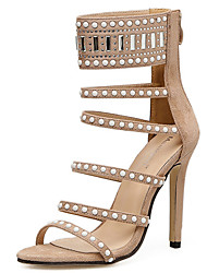 cheap -Women's Shoes Fur Spring / Summer Gladiator / Basic Pump Sandals Stiletto Heel Beading Black / Almond / Party & Evening