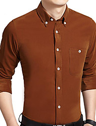 cheap -Men's Work Shirt - Solid Colored Basic Button Down Collar / Long Sleeve