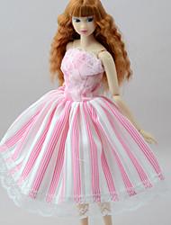 baratos -Vestidos Vestidos Para Boneca Barbie Rosa Pálido Poliéster/Algodão Mistura de Linho e Poliéster Vestido Para Menina de Boneca de Brinquedo