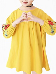 cheap -Kids Girls' Simple Floral Lace Long Sleeve Dress / Cute